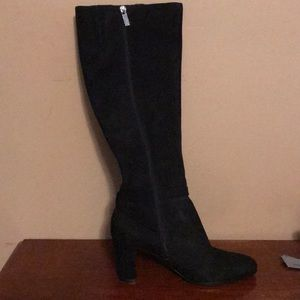 Black suede over the calf boots. Bandalino